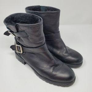 Zara Basic Moto Fur Lined Combat Boots Black 40